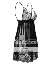 Baju Tidur Seksi Premium Ukuran Besar S M L XL XXL Hitam Transparan